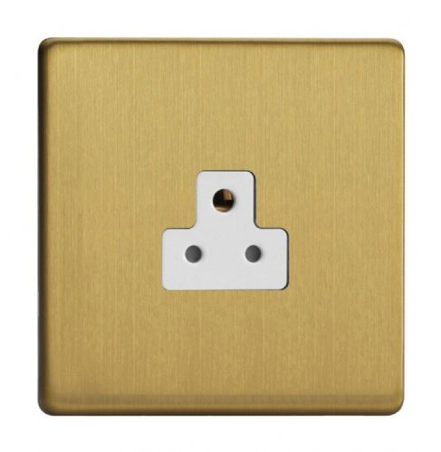 Varilight XDBRP2AWS Screwless Brushed Brass 1 Gang 2A Round Pin Plug Socket
